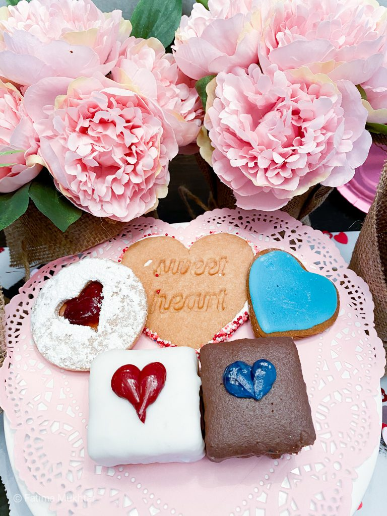 Valentine's Day desserts petit fours, heart cookies