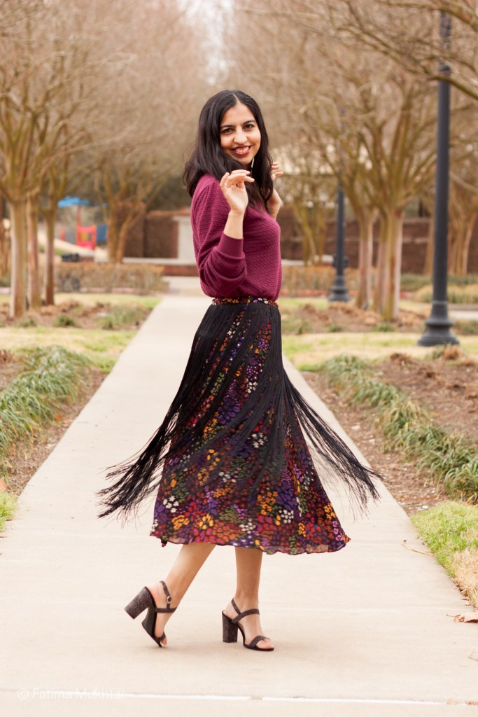 modest fringe skirt outfit maroon top, black floral midi fringe skirt