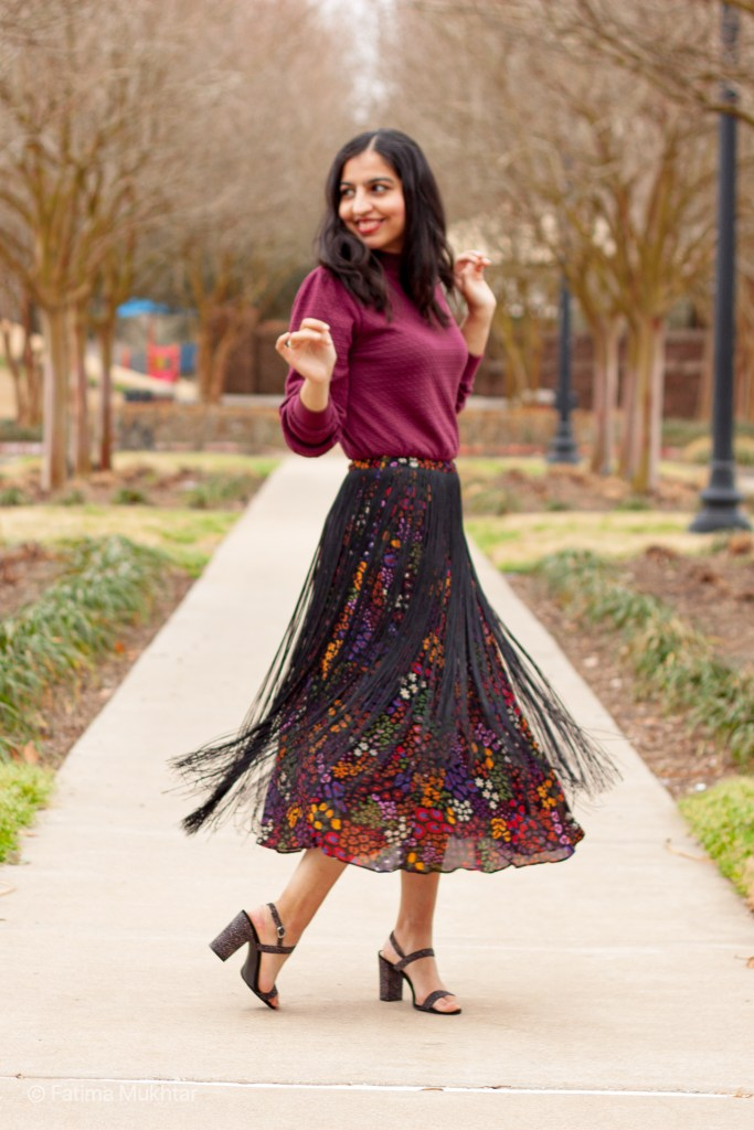 modest fringe skirt outfit idea floral farm rio skirt