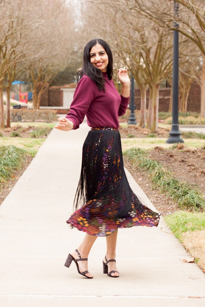 modest fringe skirt outfit idea maroon long sleeve top black fringe floral skirt