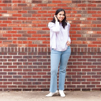 Modest Flare Jeans Outfit Idea