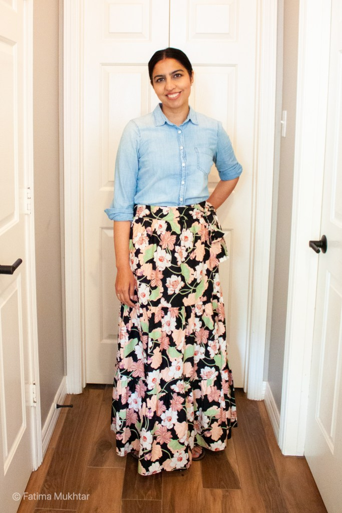 chambray button down shirt with peach and black floral wrap maxi skirt