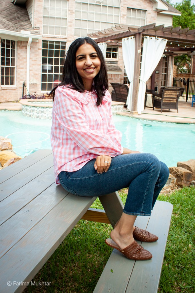 modest summer pieces at Target pink gingham top
