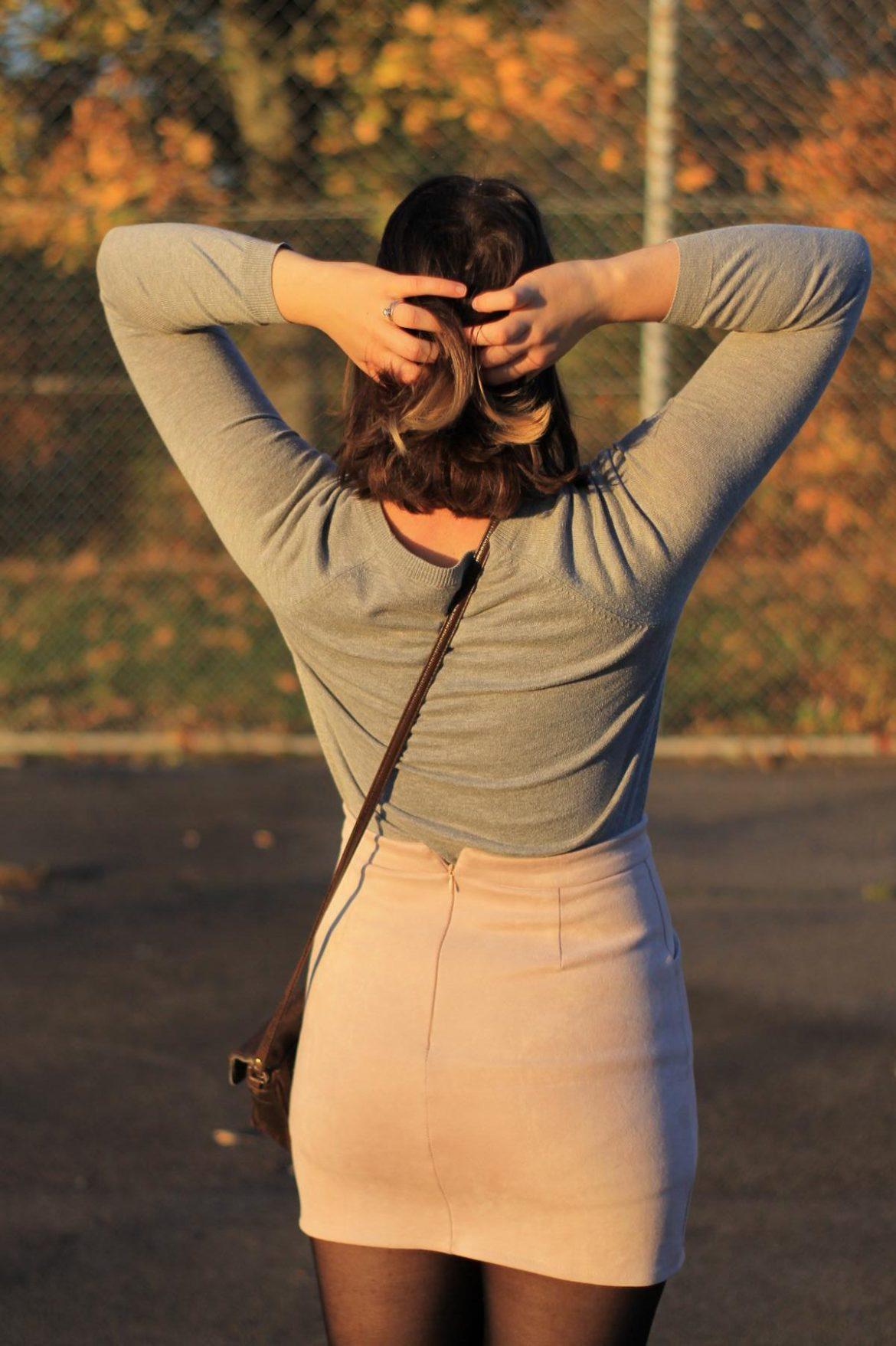 Herbstoutfit mit wildleder Rock