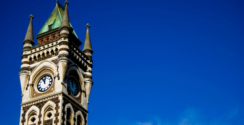 Dunedin, New Zealand's University of Otago Clocktower, an example of Gothic Revival Architecture