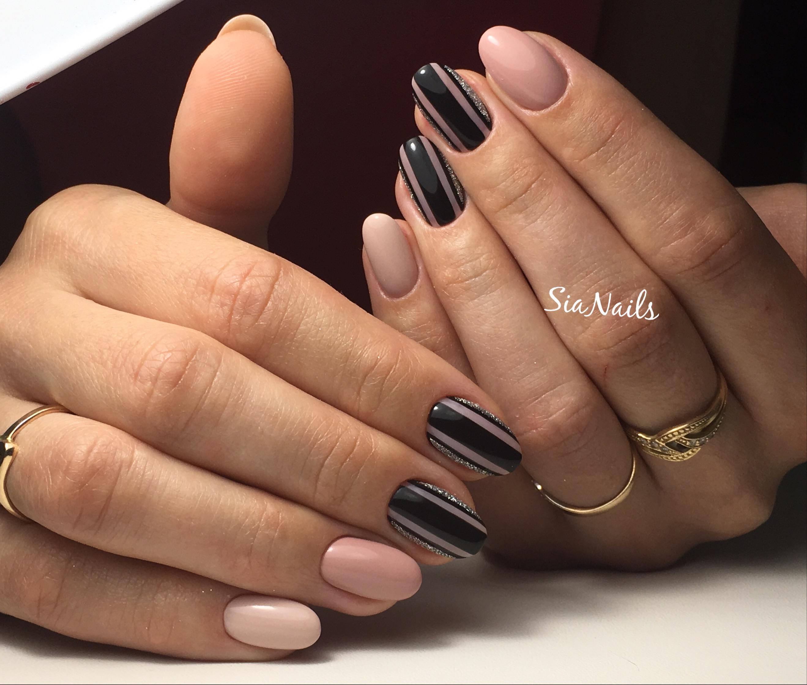 коричневые ногти дизайн 1