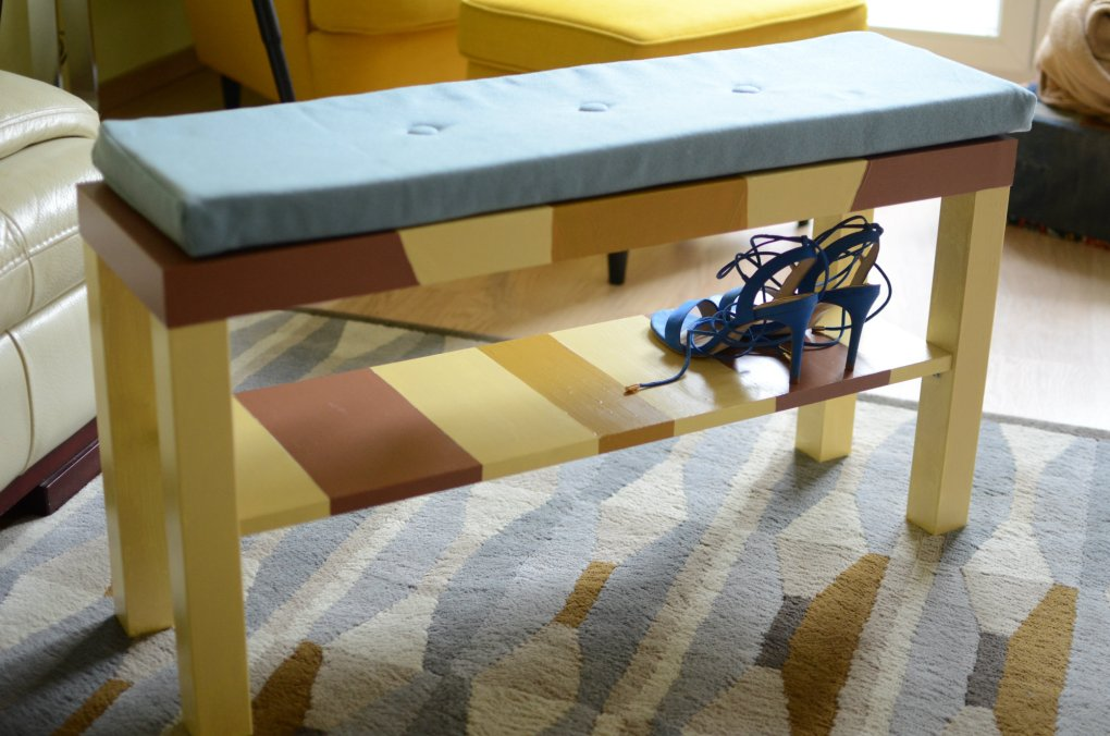 Ikea hack DIY lavicka na prezuvanie predsien Modny tucet_DIY_lavicka