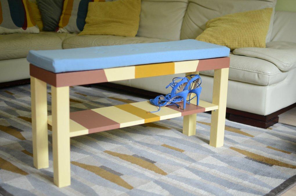 Ikea hack DIY malovana skrinka lavicka na prezuvanie topanky Modny tucet_DIY_lavicka_m