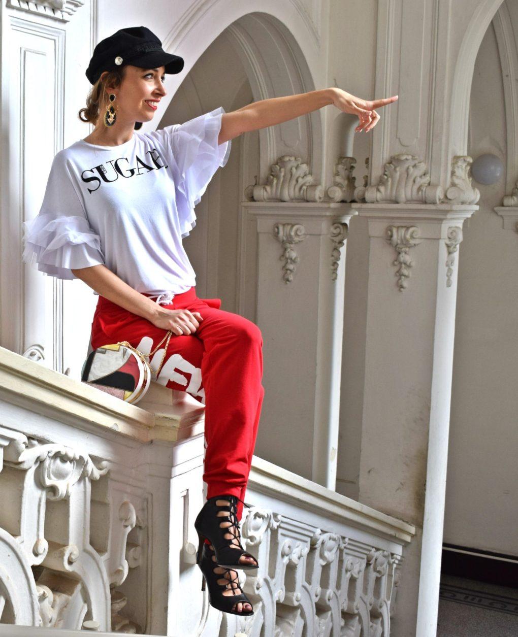 teplaky-modny blog-blogerka-damske teplaky-cervene teplaky-sportove oblecenie-sportovy styl