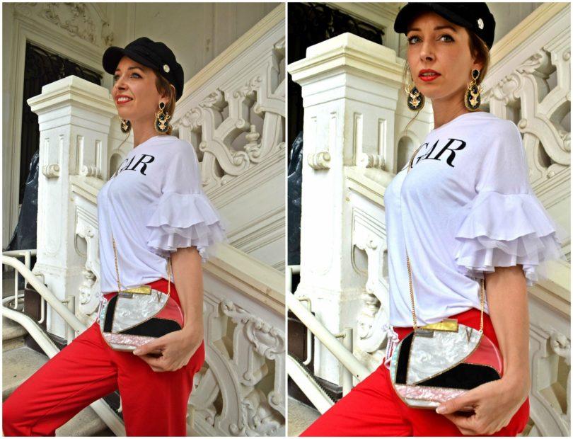 Teplaky-topanky na podpatku-snurovacie lodicky-doplnky-kabelka-nausnice-bakerboy ciapka-damske teplaky-cervene teplaky