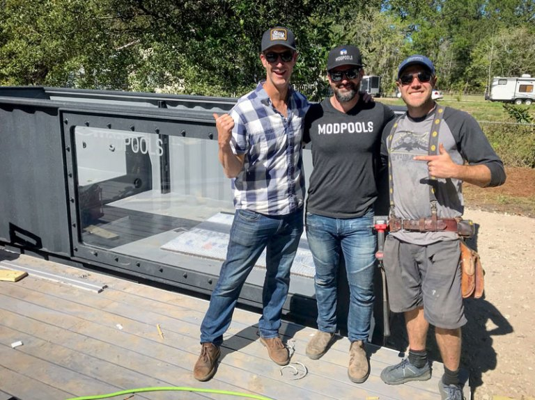 Modpool shipping container swimming pool being installed for the tv show Tiny House Nation