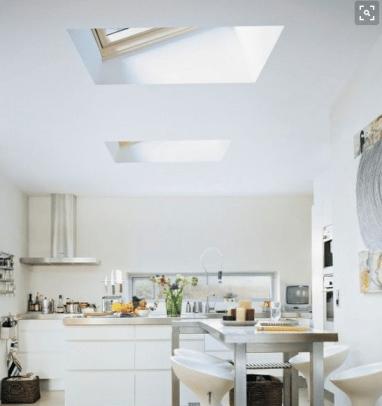 skylights to brighten up kitchen