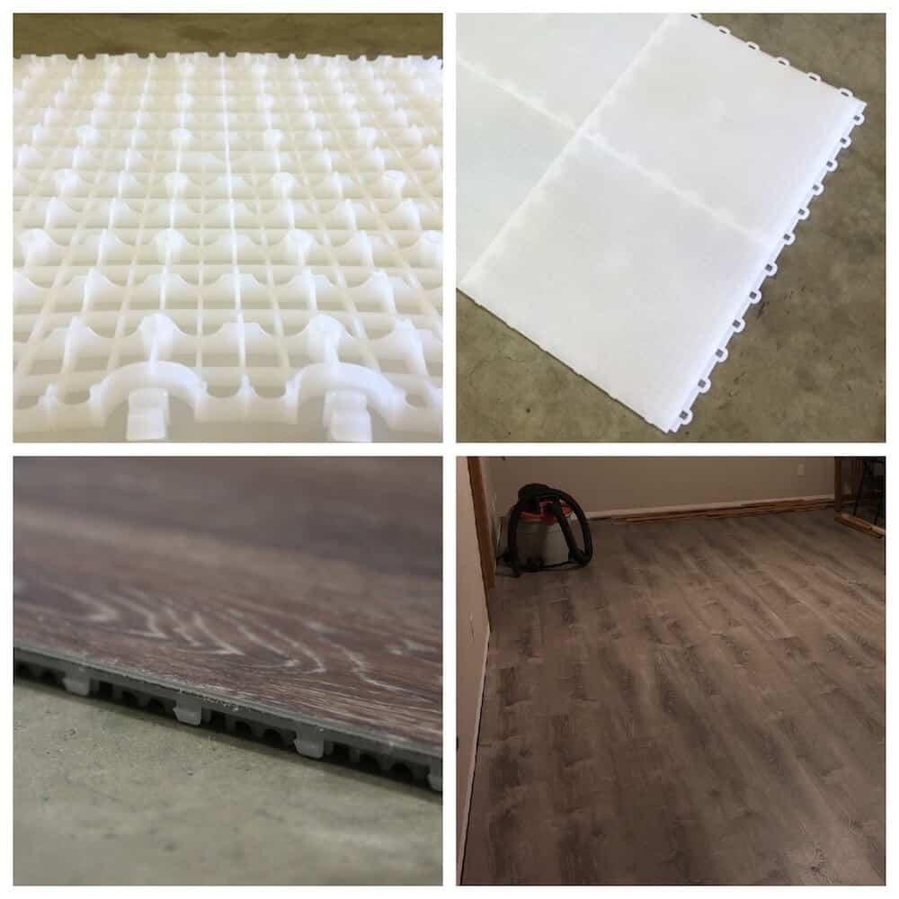 basement subfloor interlocking tiles 12 x 12 fast underlayment
