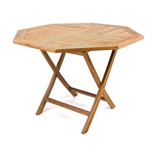 DIVERO GL05529 8-eckiger Balkontisch Gartentisch Beistelltisch Holz Teak Tisch für Terrasse