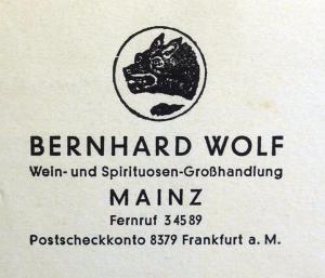 Bernhard Wolf, Mainz, Babette Michel, Mainz, Heinrich Wolf, Rosalie Weis, Albert Wolf, Lore Wolf, Lore Weil, Berlin