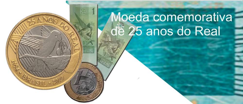 moeda comemorativa de 25 anos do Real