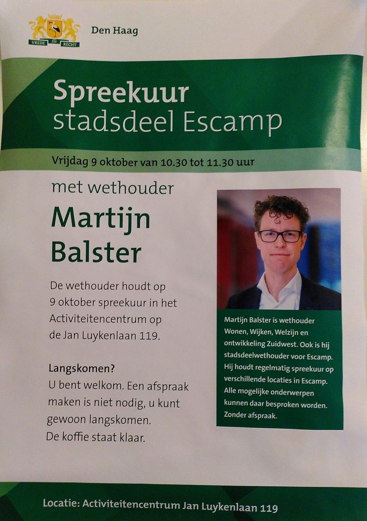 Spreekuur met wethouder Martijn Balster in Moerwijk