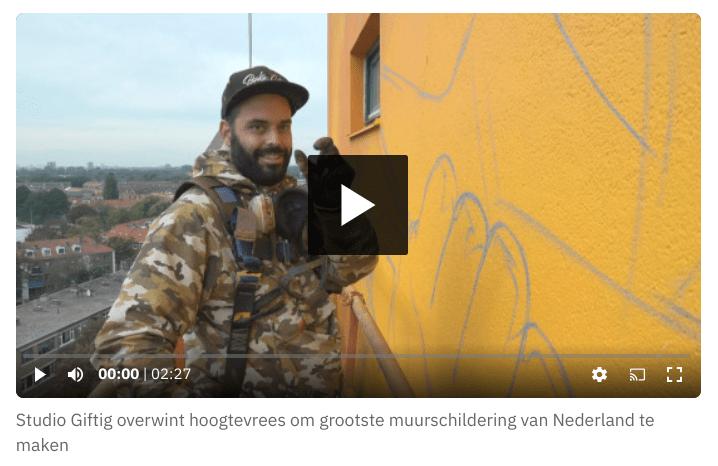 Muurschildering Moerwijk liedje band Di-rect Item Omroep West over Studio Giftig