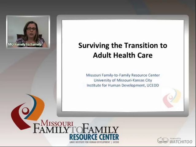 Screenshot: Surviving the Transition to Adult Medical Care webinar screen