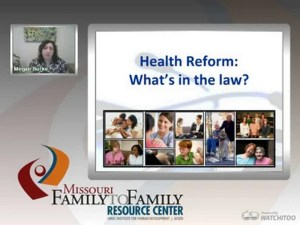 Screenshot: Understanding Health Reform webinar screen