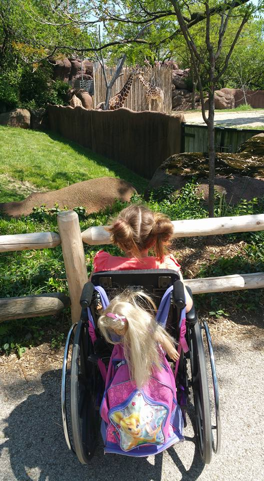 Photo: A girl sits with her back to the camera in a wheelchair. She has a pink tinkerbell backpack strapped to the wheelchair and her hair is up in two pigtail buns. She's looking at the giraffes in the zoo.