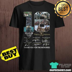 16 Years of Pirates Of The Caribbean 2003-2019 5 Movies signatures shirt
