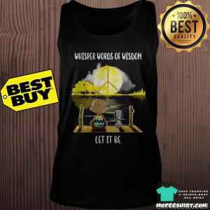 Whisper Words Of Wisdom Let It Be Guitar Lake Shadow Yellow Charlie Brown And Snoopy shirt
