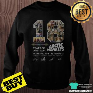 18 Years Of 2002 - 2020 Arctic Monkeys Thank You For The Memories Signature Shirt