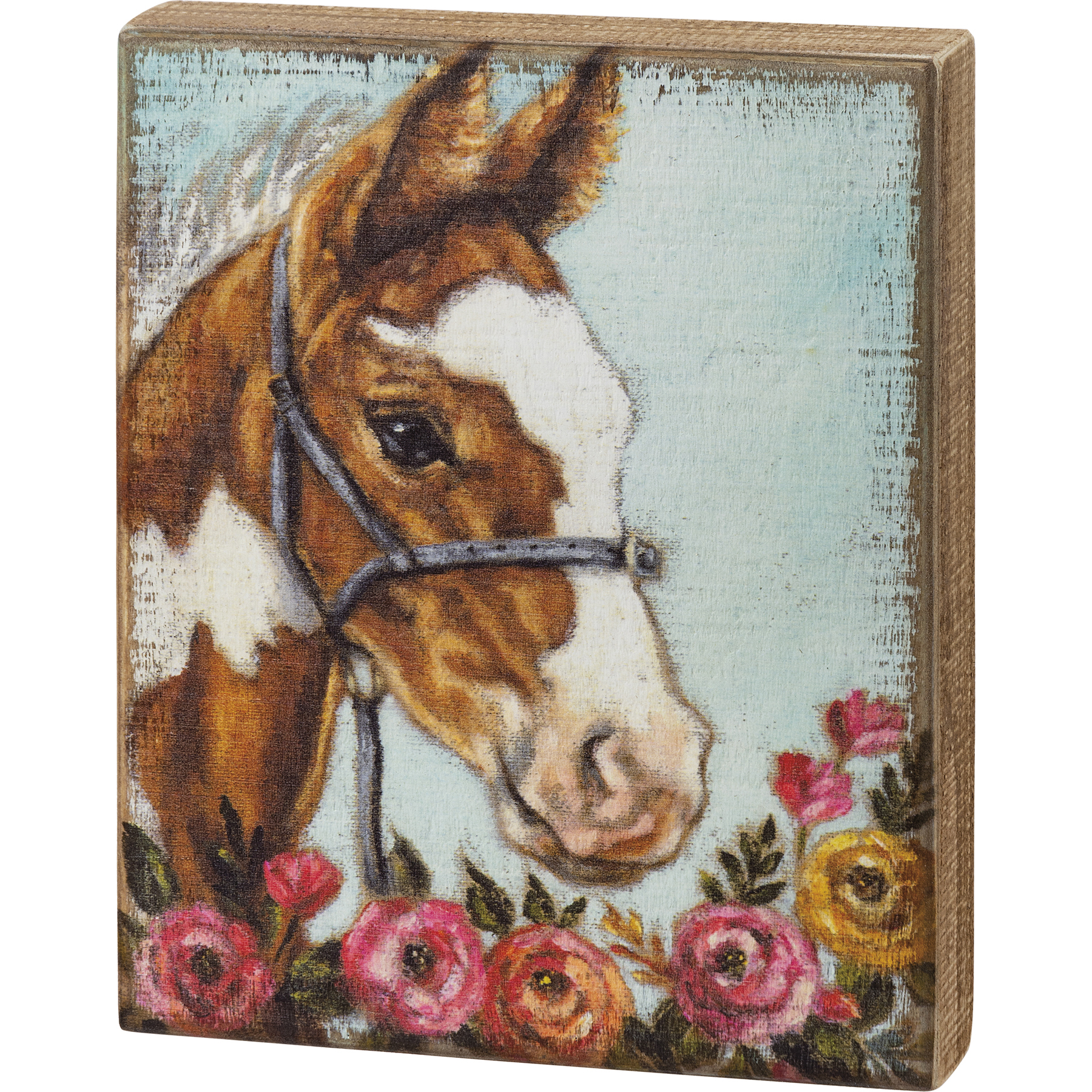 Box Sign-Horse Floral