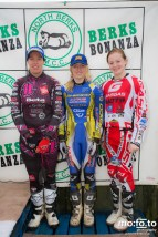 Podium North Berks SuperTrial – NATIONAL Championship 2013; Third Place (Right) Joanne Coles, Second Place (Left) Becky Cook, Winner (Centre) Emma Bristow, 03 AUGUST 2013