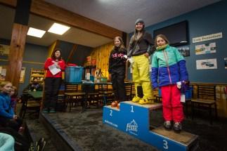 Kinky Rail Jam- Fernie Alpine Resort - 10 January - In the Girl's Under 15 Ski Category : 1st Isabelle Benitez, 2nd Isabelle Gulyas, 3rd Andorra Wright