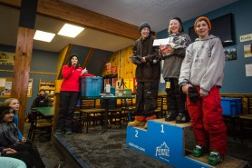 Kinky Rail Jam- Fernie Alpine Resort - 10 January 2015, In The Men's 15 & Under ski; 1st Alex Urquart, 2nd Graham Bradish, 3rd Blake Plummer