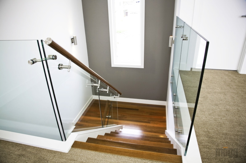Gallery Glass Railings And Stainless Steel Railings | Glass Railing With Wood Handrail | Modern | Interior | Panel | Metal | Residential