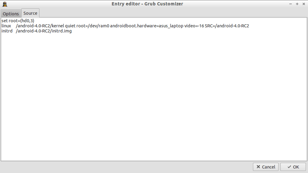Grub Customizer_Entry editor_Source