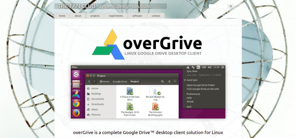 overGrive   Linux Google Drive Desktop Client   The Fan Club   dynamic design solutions