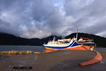 The sun broke through just as we were about to board the ship to go to Chiloe Island