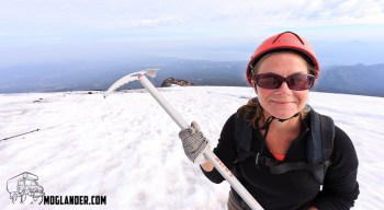 Sarah showing the ice axe that got her to the top of Volcano Villarica