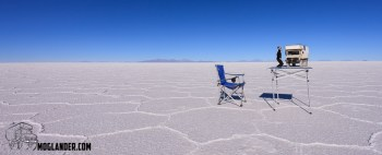 We were nervous of parking the truck on the salt lake all night, so we left it on the table