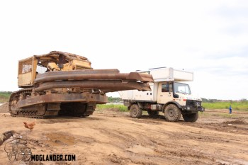 Big Bulldozer with Unimog camper
