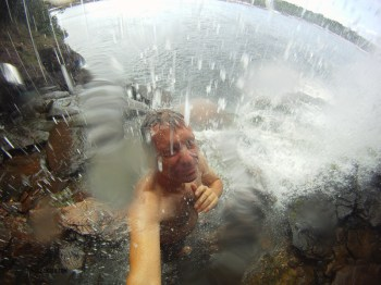 Taking photos inside a waterfall can be tricky