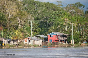Houses and sheds on the Amazon river banks were sometimes in the water on stilts.