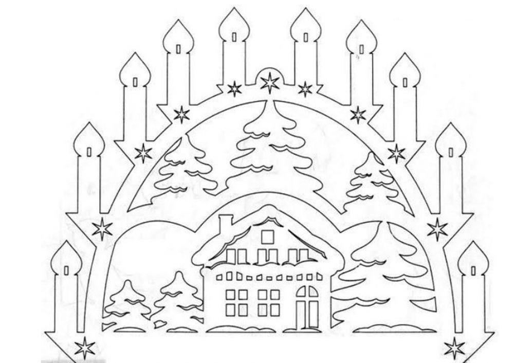 Новогодние рисунки из бумаги на окна распечатать