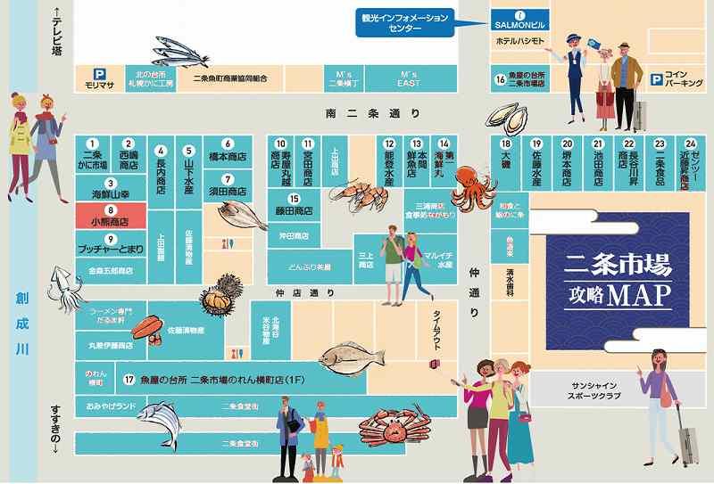 札幌二条市場店舗マップ※公式HPより引用。