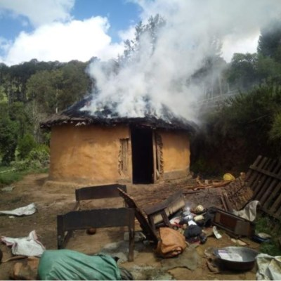 Photo of a burning home taken by a member of the Sengwer community using the Timby app. Photo - Timby