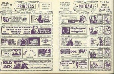 Before online theater links and ticket reservations, these card board movie listing were placed on counters in public places to encourage movie goers.