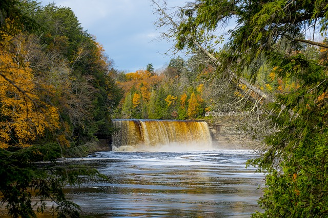 scenic view of the Tahquamenon Falls in Michigan Upper Peninsula