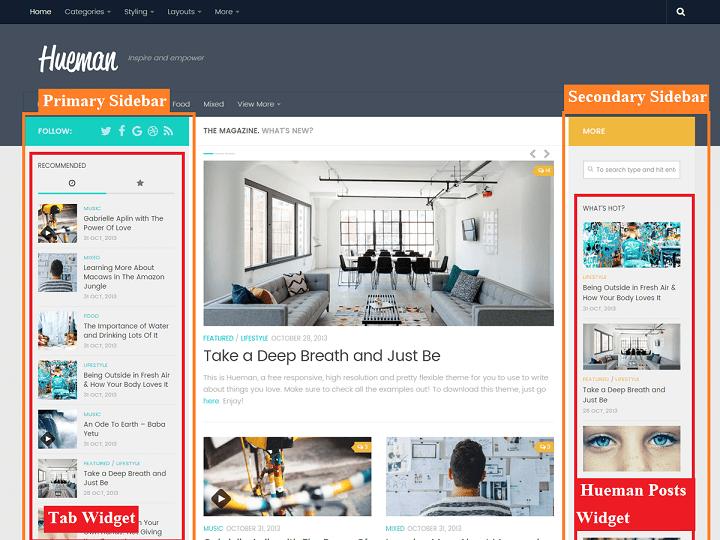 Hueman Theme Review Best WordPress Theme sidebars
