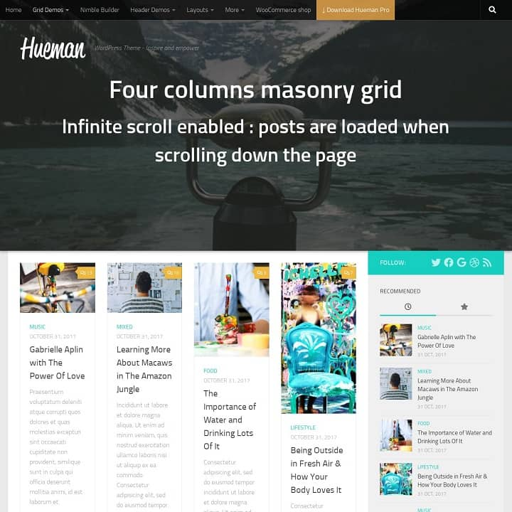 Hueman Theme Review Best WordPress Theme post grid