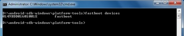 Fastboot Devices command window