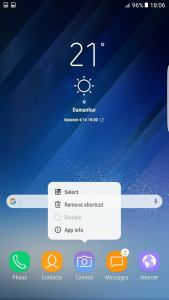 Galaxy S8 apps options